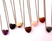 Spirit Heart Necklace, 1 inch Puffy Heart, Chakra Stones, Power Stones, Valentine Gift