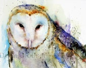 BARN OWL Watercolor Print by Dean Crouser