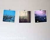 Eiffel Tower photo set, Paris photography, sunrise, rain, sunset, moon, square prints - Set of 3 Original Fine Art Photographs 8x8 or 12x12