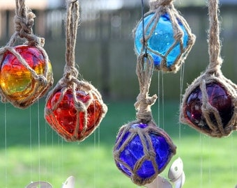 Glass Fishing Float Spoon Fish Wind Chime, Glass Garden Sun Catcher, Colorful Patio Decor, Nautical Rope Roping Masculine Presents Buoy Ball