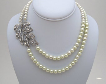 Ivory Pearl Bridal Necklace, Leaf Bridal Wedding Necklace, Bridal Jewelry - PN10