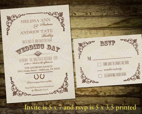 Country Rustic Wedding Invitations: Country Western Wedding Invitations Vintage By NotedOccasions