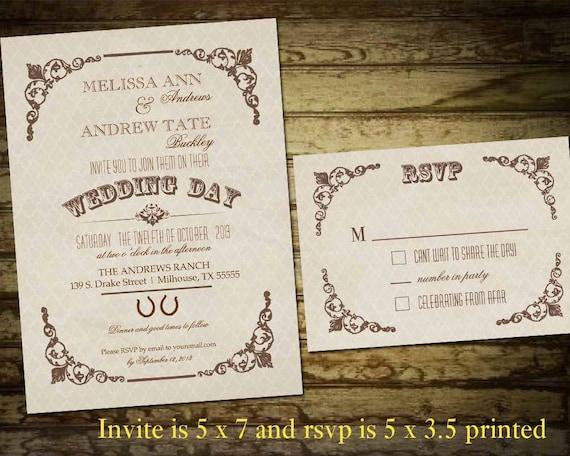 Rustic Western Wedding Invitations: Country Western Wedding Invitations Vintage By NotedOccasions