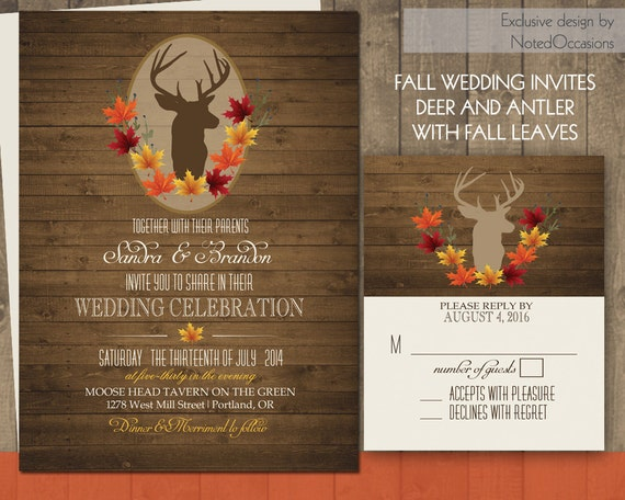 Deer Wedding Invitations: Deer Wedding Invitations Rustic Fall Wedding By NotedOccasions