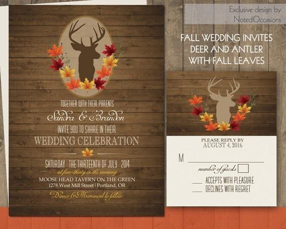 Rustic Fall Wedding Invitations: Deer Wedding Invitations Rustic Fall Wedding By NotedOccasions