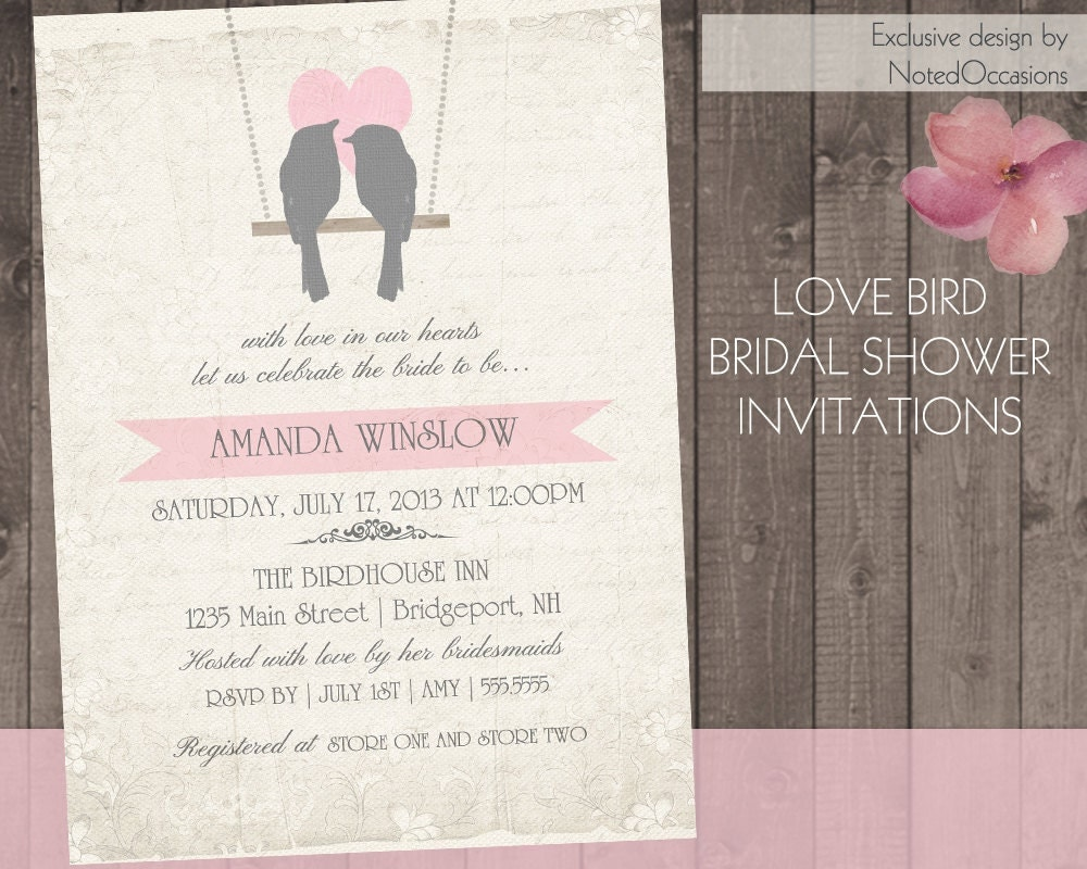 Rustic Bridal Shower Invitations | Love Birds Bridal Shower with ...