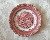 Antique Transferware Red Farm Dinner Plate George Jones and Sons Staffordshire England Serving Dining Cottage Home Decor Wall Hanging - RosaMeyerCollection