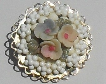 Super SWEET Delicate  ---Vintage Floral and FILIGREE Brooch ---Mint Condition--Mid 50s