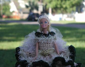 BARBIE Doll / toilet paper doll/ beige/hunter green
