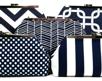 Navy Bridesmaids Clutches Bridal Party Clutches Wedding Clutch Bridesmaid Gifts Choose Your Fabric Set of 5