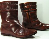 calf high boots 7 M brown flat heel leather insulated grunge retro 1970s
