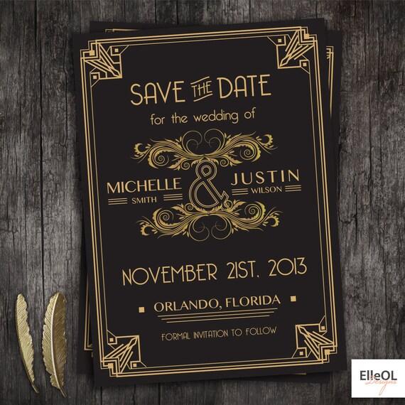 Great Gatsby Wedding Invites: Great Gatsby Art Deco Wedding Save The Date