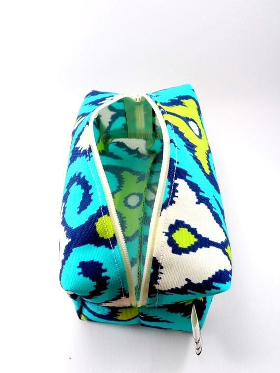 Aqua and Lime Green Ikat Makeup Bag Zipper by ellebeetree