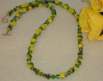 Chartreuse And Green Crystal Beaded Necklace  FREE SHIPPING