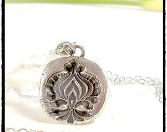 Wax Seal Jewelry, Lotus Flower, Fleur de Lis ~ Talisman Pendant- REVERSIBLE - Sterling, 1850's Antique Symbolic Jewellery . Yoga Necklace .