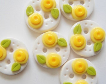 Button Double Flower Buds handmade polymer clay buttons ( 6 )