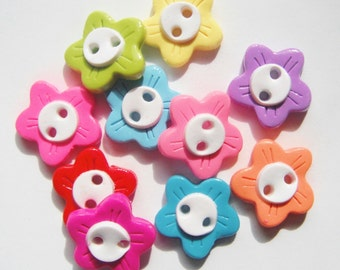 Button Rainbow of Flowers polymer clay handmade buttons ( 10 )