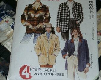 Vintage 1993 McCalls Pattern 6684 for Misses or Mens Lined or Unlined Jacket, Size Y, Sm, Med, Lrg , Uncut