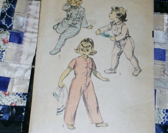 """Vintage 1940s Cute Advance Pattern 5721 for Toddlers Pajamas Size 1, Breast 20"""", Waist 19 1/2"""""""