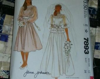 1982 McCalls Pattern 7893 for Misses Brides or Bridesmaid Dress Size 12, Bust 34 Uncut