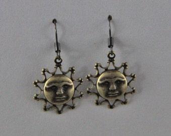 Brass Sun Face Dangle Earrings