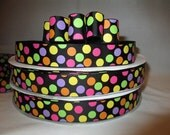 5 Yds. WHOLESALE 7/8 Inch Halloween on Black Sugar Dots grosgrain ribbon LOW SHIPPING Cost (Brand New Item!)