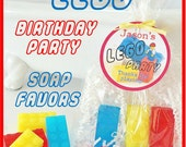 10 LEGO BRICK SOAP Birthday Party Favor Pack - personalized, custom gift tag, handmade, glycerin, scented, kids, fun, gift wrapped, legos