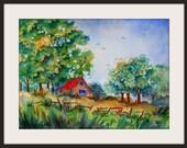 Watercolor Barn, Country Barn, Barn Art, Trees Fence Field, Blue Sky, Green Brown Red, Watercolor Trees, Colorado Barn, Martha Kisling