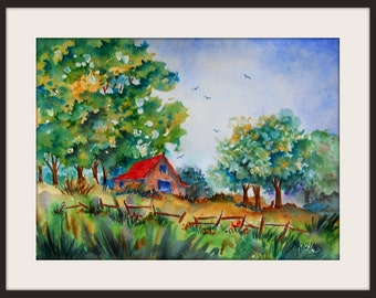 Watercolor of Barn, Trees and Fence in the Country by Colorado Artist Martha Kisling