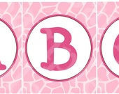 Jungle Girl Animals Digital Baby Shower Alphabet Banners A-Z and 0-9 U Print yourself