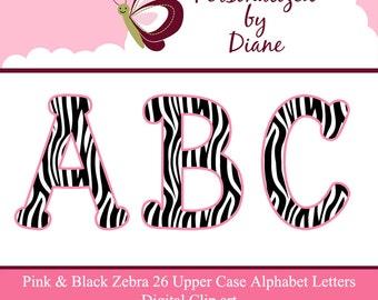 Pink and Black Zebra Print Alphabet Set Instant Digital Download