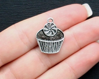 4 Large Cupcake Charms Antique Silver Tone - SC1312