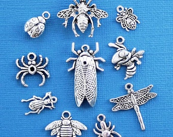Bug Charm Collection Antique  Silver Tone 10 Charms - COL206