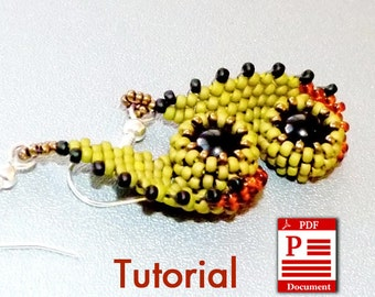 PDF Tutorial. Eyes of Owl DIY Beading tutorial. Round rocailles seed bead pattern. Original beadweaving earrings tutorial