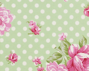 Tanya Whelan Fabric, Out of Print, Roses and Mums in Green, Rosey, 32 Inches