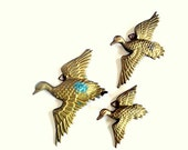 SALE Vintage Brass Flying Geese / Ducks - Set of 3 - Wall Hanging Art - Mid Century Home Decor