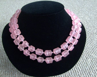 Vintage Double Strand Pink Translucent Beaded Necklace