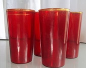 Red Cocktail Glasses, Vintage Barware, Glassware, Set of Four, Candy Apple Red, Drinking, Beverage Glasses