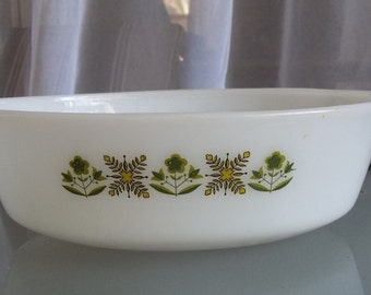 Vintage Fire King Green Meadow Casserole Dish