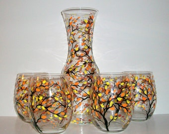 READY TO SHIP Fall Autumn Hand Painted Stemless Wine Glasses and Carafe, Decanter--5 Piece  Wedding Collection Orange Yellow Brown Leaves