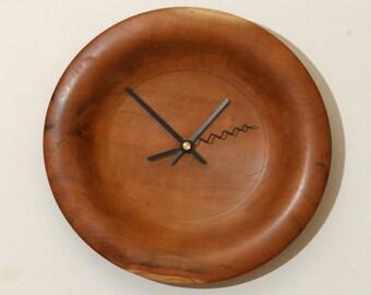 Wood Wall Clock, Cherry Wood Clock, Turned Wood Clock