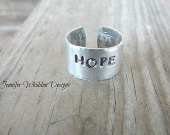 Personalized Handstamped Ring, Personalized Hope Ring, Custom Ring, Cuff Ring, Adjustable Ring, Hope Ring