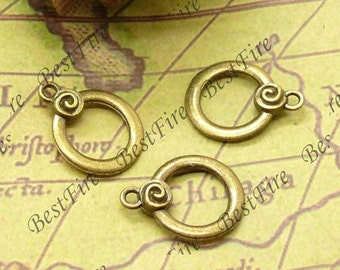 10PCS Of  17x22MM Antique Brass Charm Pendant,metal finding,pendant beads,jewelry findings,Connectors Bracelet,rings