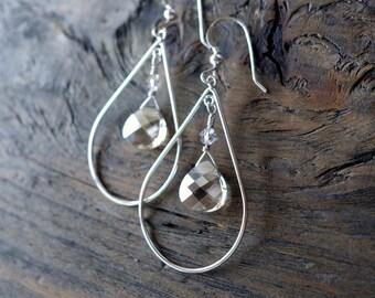 Silver teardrop earrings, crystal earrings, HANDMADE earrings, silver crystal earrings