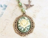 Cameo Necklace Ivory Rose Pendant Rose Necklace Bird Charm Statement Fairytale Jewelry Green Glass Sparkle Romantic Vintage Style Jewelry