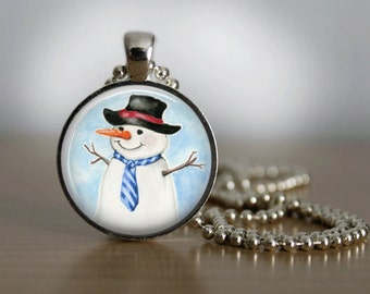 Christmas Necklace Snowman Necklace Christmas Jewelry Glass Tile Necklace Snowman Jewelry Glass Tile Jewelry Holiday Jewelry Silver Jewelry