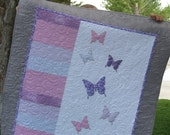 Butterfly Quilt or Wall Hanging for Child, Toddler, Lap or Wall Art in Purples, Pinks and Grays with Appliqued Butterflies