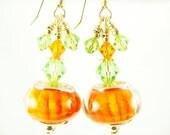 Orange Green Lampwork Earrings, Glass Bead Jewelry, Pumpkin Glass Bead Earrings, Dangle Cluster Earrings, 14K Gold Filled Drop Earrings