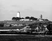 Lighthouse Photo Black and White - Piedras Blancas California Historic Lighthouse, Wall Art, Coastal Decor, Rustic