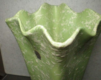 Vintage Mid Century Large Ceramic Shawnee Pale Green Confetti, Splatterware Vase